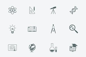 Education and learning modern icons