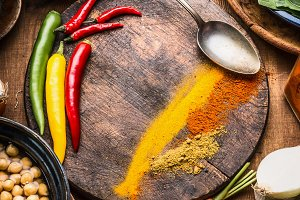 Colorful spices and ingredients