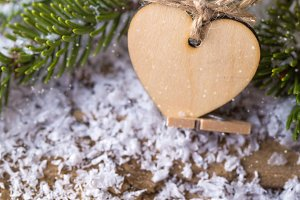 Christmas wooden heart