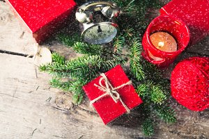 Red present box candle clock Christmas composition