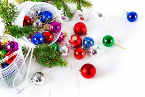 Christmas baubles decoration white background