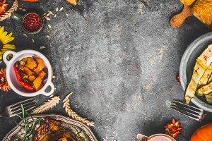 Thanksgiving dinner dishes and decor