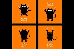 Black cat claw scratch set Halloween