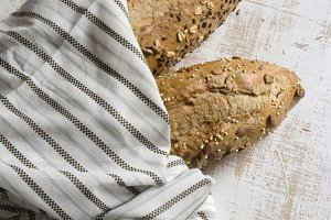 rustic bread, wrapped in striped fab