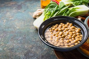 Bowl with chick peas and ingredients