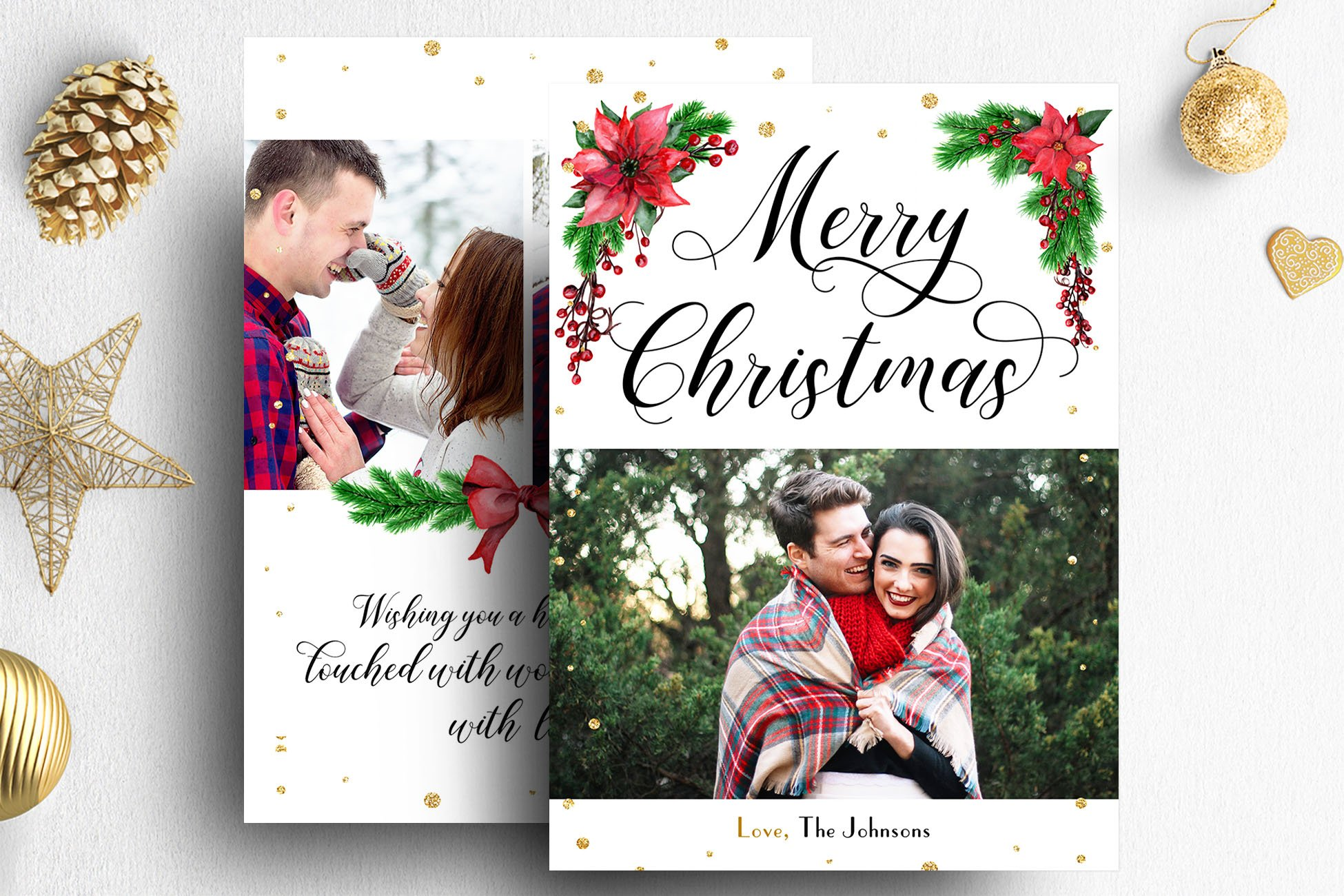Christmas card photoshop template card templates creative market for Photoshop holiday card templates