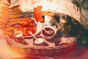 Autumn breakfast in bed
