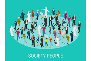 Society isometric background with people of different occupations. People meeting, discussing, planning, brainstorming at the blackboard