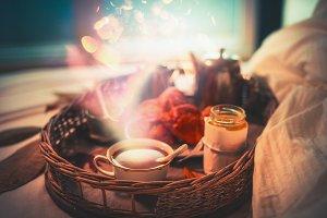 Cozy breakfast in bed
