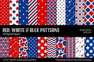 Red, White & Blue Digital Papers