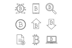 Bitcoin linear icons set