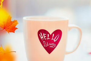 Hello Autumn mug and fall leaves
