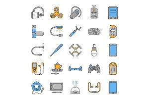 Modern gadgets color icons set