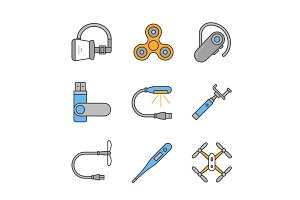 Gadgets color icons set