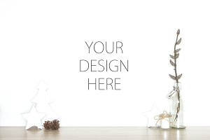 Christmas blank wall - art mockup