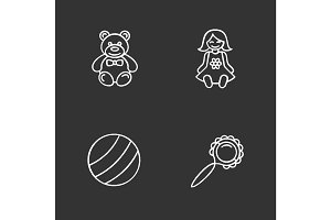 Kids toys chalk icons set