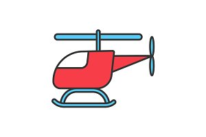 Toy helicopter color icon