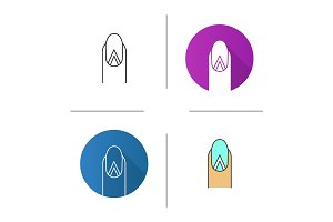 Geometric moon manicure icon