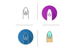 Geometric moon manicure icon