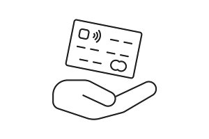 Open hand with credit card linear icon