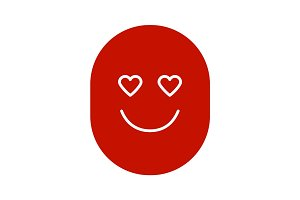In love smile glyph color icon