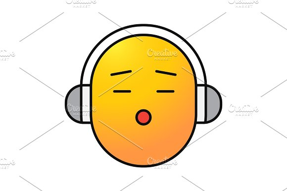 Smile with earphones color icon