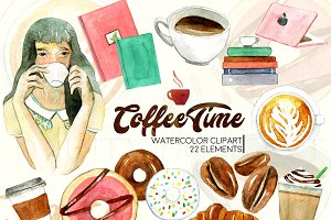 Watercolor Coffee Cafe Clipart
