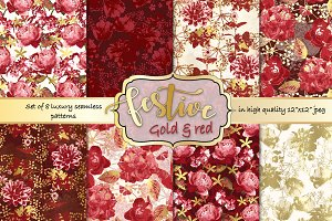 Gold and red Christmas patterns