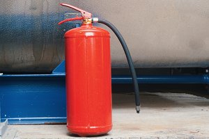 fire extinguisher on industrial plant