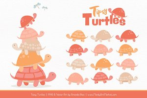 Antique Peach Turtle Stack Clipart
