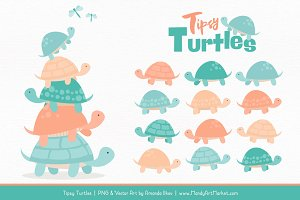 Aqua & Peach Turtle Stack Clipart