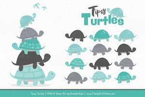 Aqua & Pewter Turtle Stack Clipart