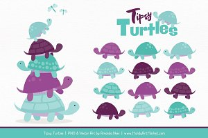 Aqua & Plum Turtle Stack Clipart