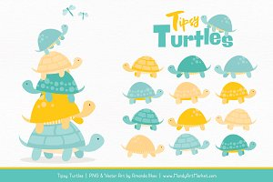 Aqua & Yellow Turtle Stack Clipart
