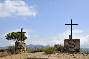 crosses on top of the mountain