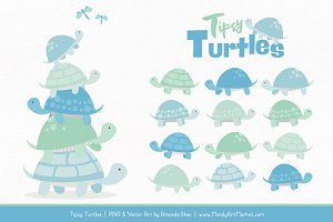 Blue & Mint Turtle Stack Clipart