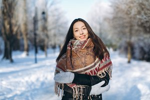 Portrait of beautiful girl in winter