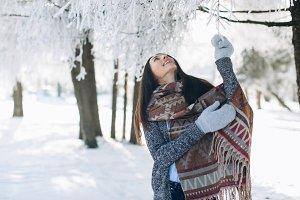 Portrait of beautiful girl in winter