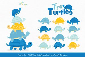 Blue & Yellow Turtle Stack Clipart