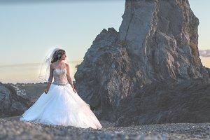 Bride walk at the beach