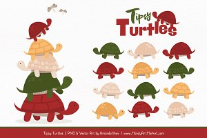 Christmas Turtle Stack Clipart