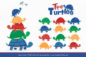 Crayon Box Boy Turtle Stack Clipart