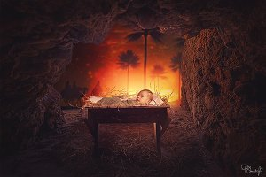 Digital Backdrop - Away in a Manger