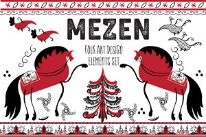 Mezen Folk Art Elements Design Set