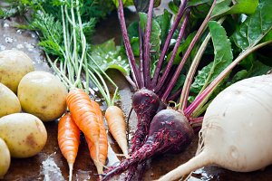 Homegrown root vegetables