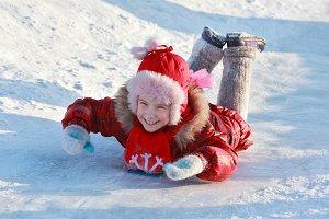 Traditional Russian winter fun - riding a frozen hill