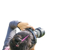 Woman Photographing Isolated Photo