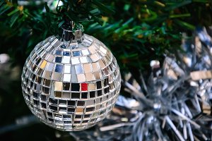 Mirror disco ball on Christmas tree