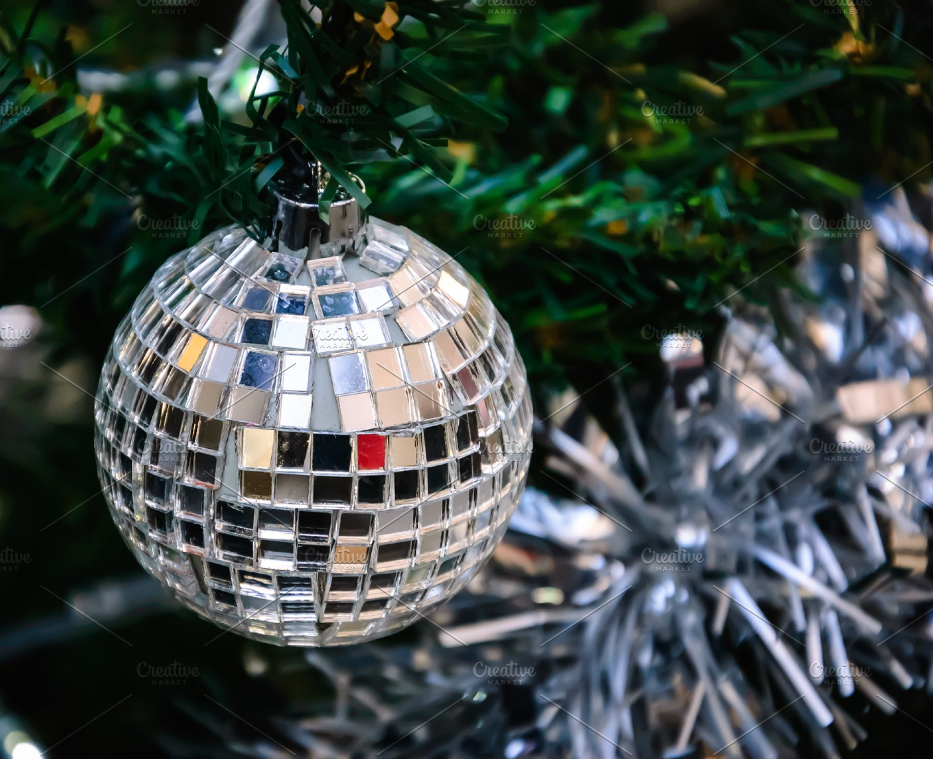 Save. Mirror disco ball on Christmas tree