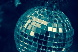 Blue Christmas. Mirror disco ball.